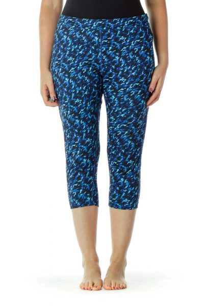 Blue Printed Cropped Yoga Pants