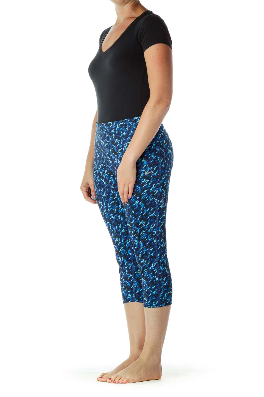 Blue Printed Cropped Yoga Pants