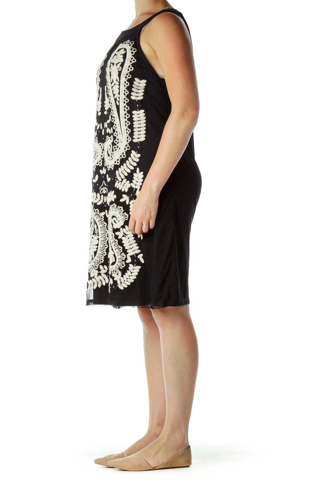 Black Cream Crocheted Shift Dress