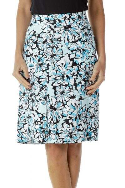 Blue Black Flower Print Skirt