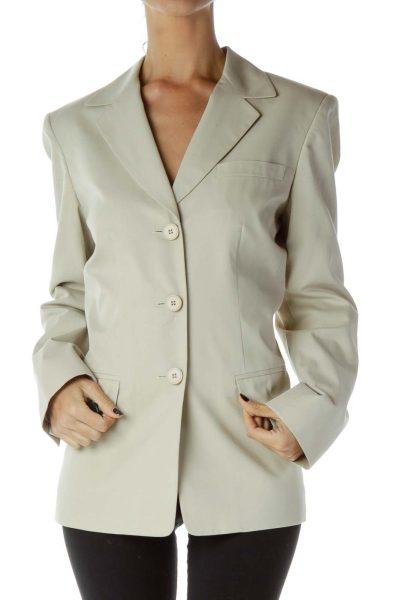 Beige Buttoned Blazer