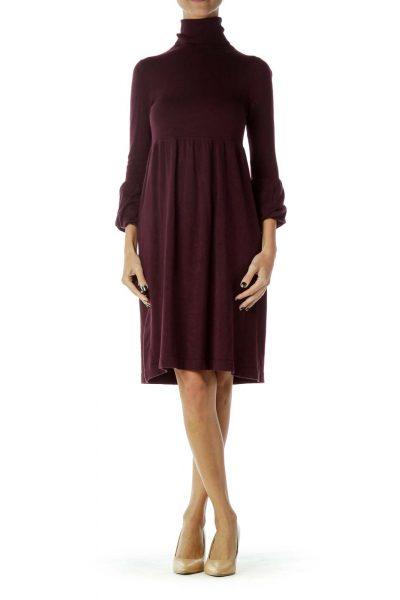 Purple Turtle Neck Long Sleeve Knit Dress