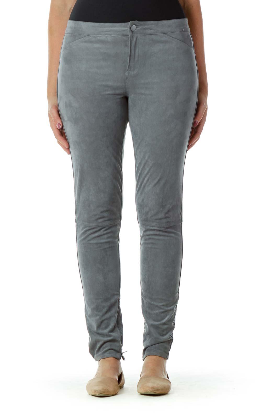 Gray Suede Skinny Zipper Leg Pants