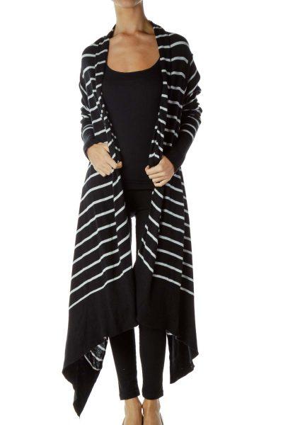Black White Striped Knit Sweater