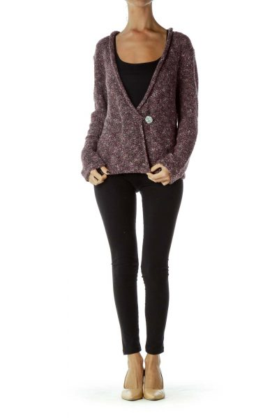 Purple Cable Knit Buttoned Sweater