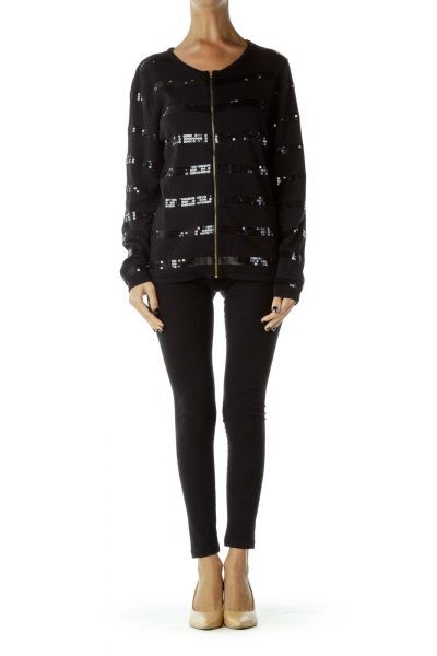 Black Sequined Zippered Cardigan