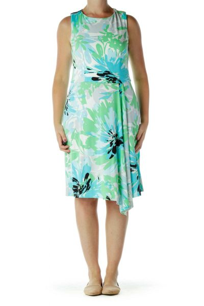 Green and Blue Floral Day Dress