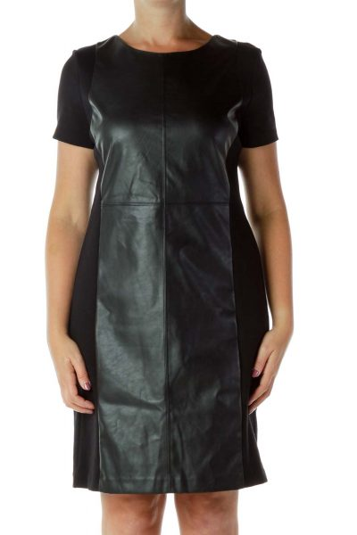 Black Fitted Dress with Faux Leather Panel