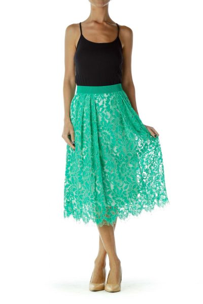 Teal Green Lace Knee-Length Flared Skirt