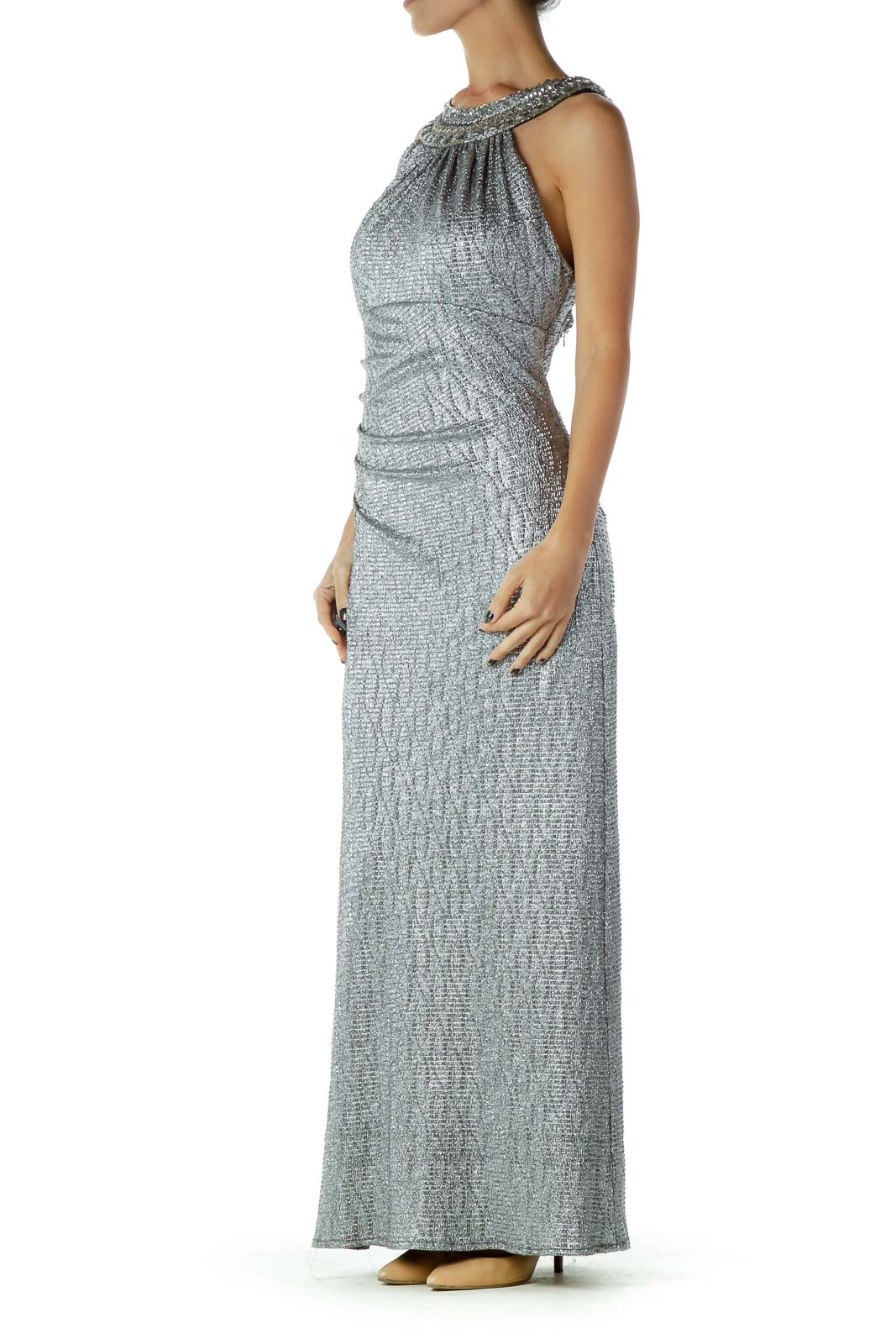 Silver Metallic Gown with Beaded Neckline
