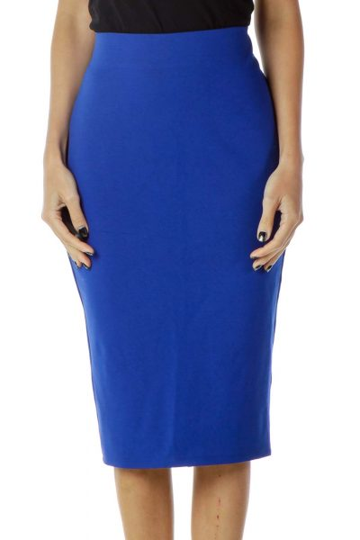 Blue High-Waisted Pencil Skirt