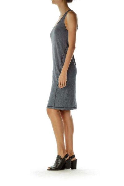 Gray Pinstriped Jersey Dress