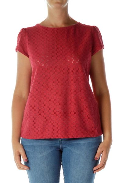 Red Cap-Sleeve T-Shirt