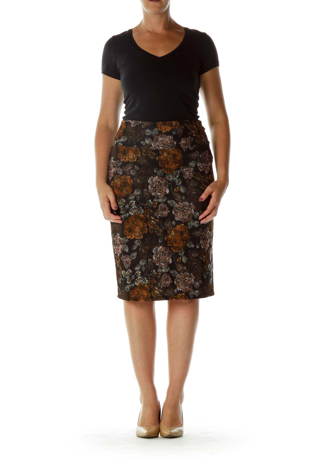Black Floral Print Pencil Skirt