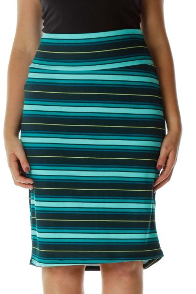 Green Blue Striped Pencil Skirt