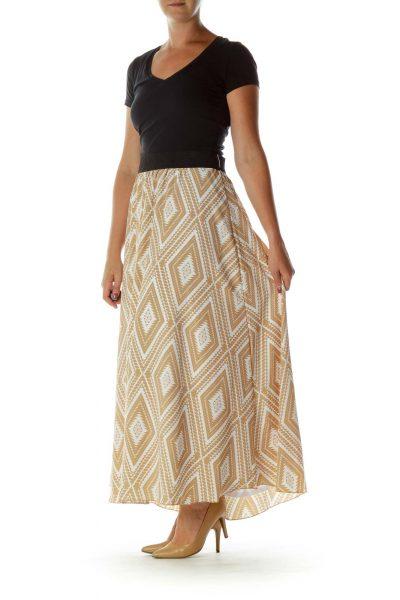 Beige White Printed Maxi Skirt