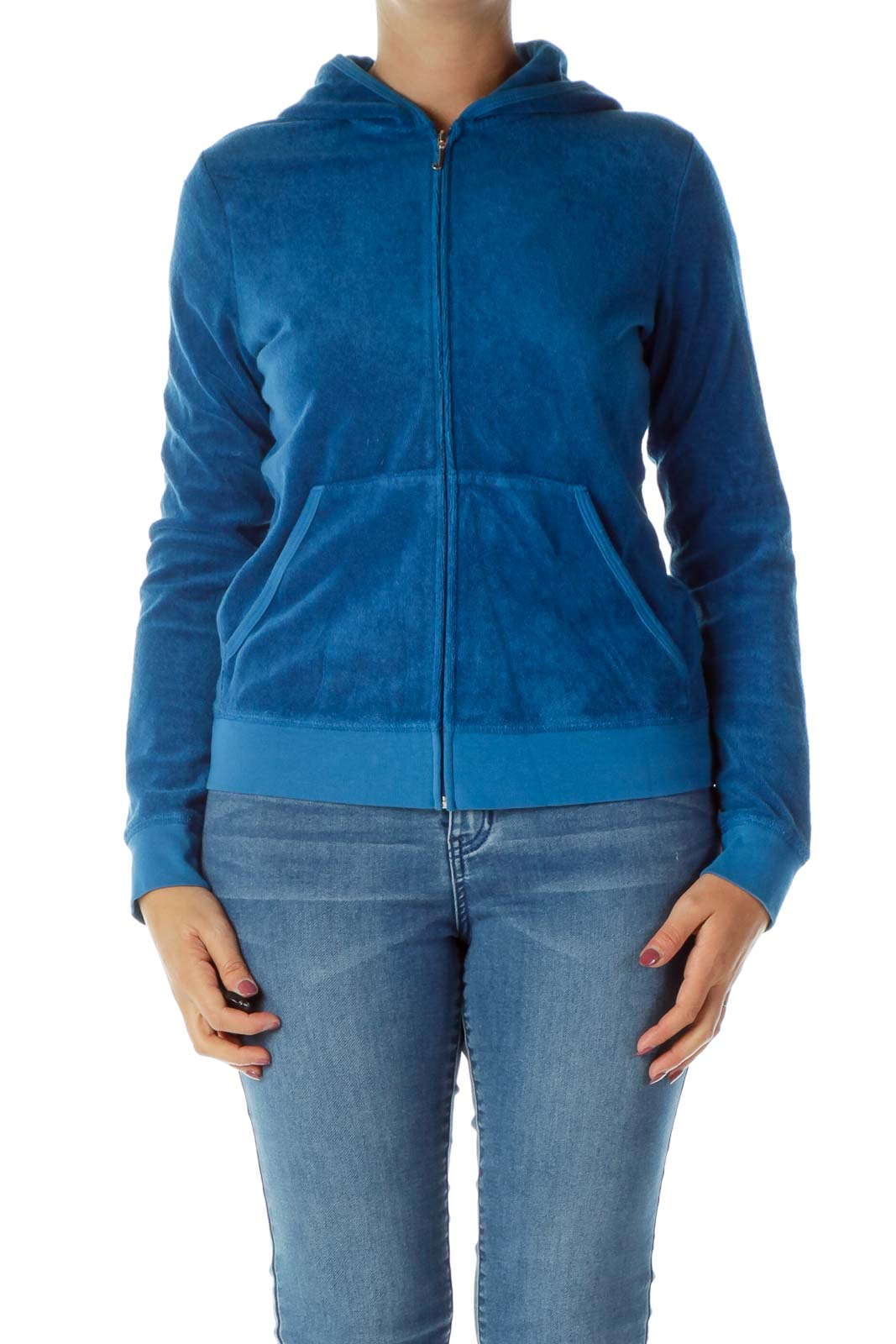 Blue Silver Terry Cloth Track Jacket