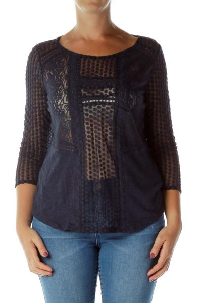 Navy Crocheted Blouse