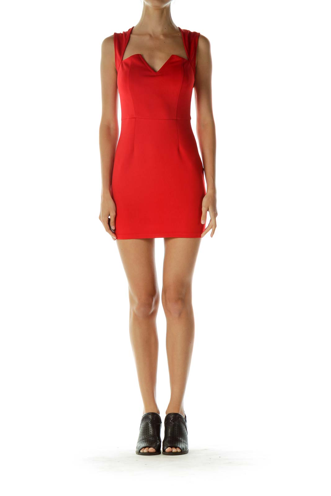 Red Bodycon Sleeveless Cocktail Dress