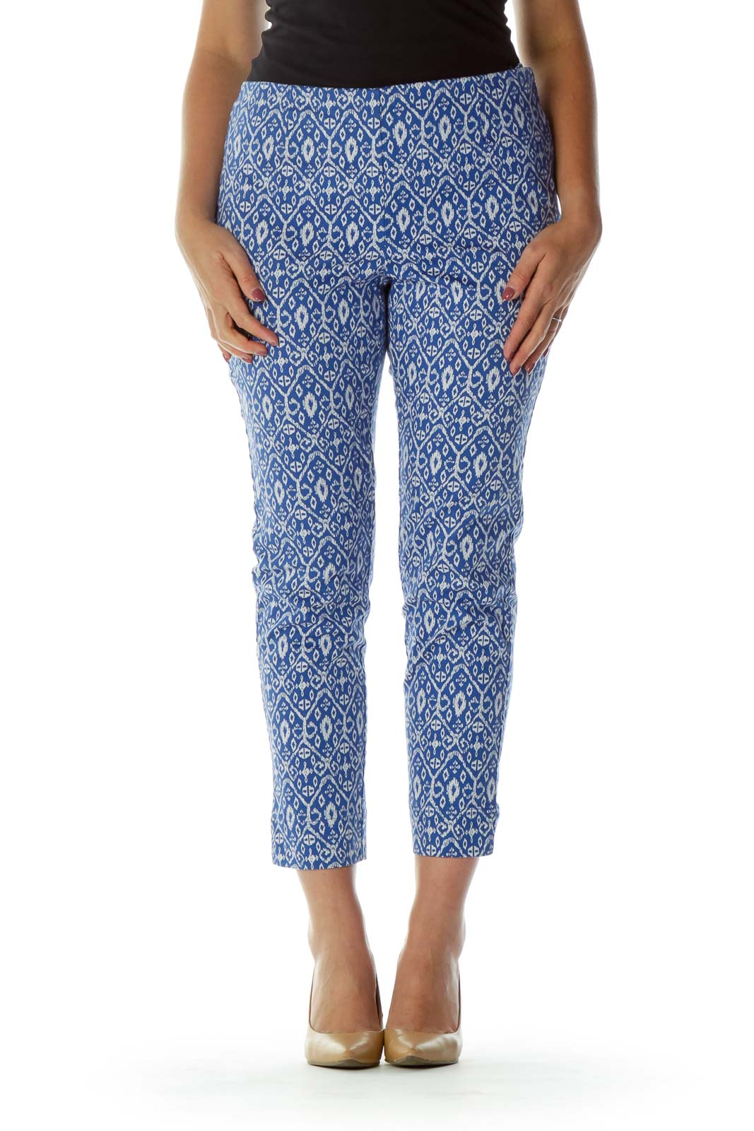 Blue White Print Cropped Pants