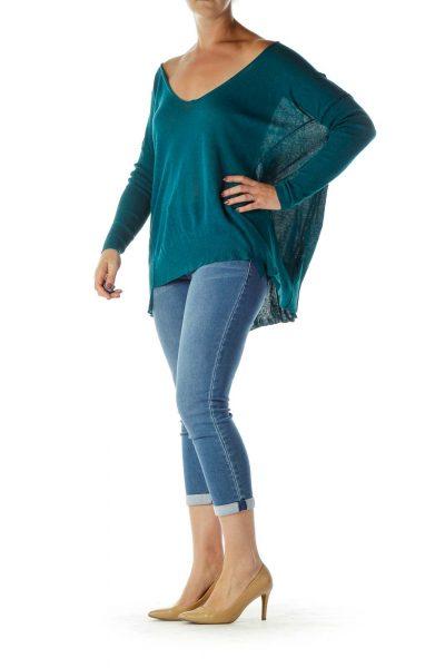 Green V-Neck Long Sleeve Sweater