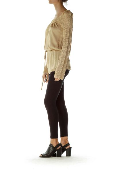 Gold Metallic Bell Sleeve Woven Top