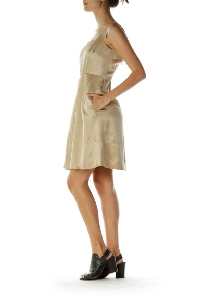 Gold Silk Pleated Cocktail Dress