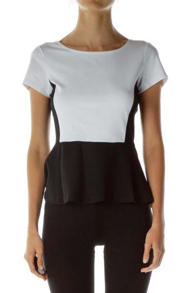 White Black Peplum Color Block Top