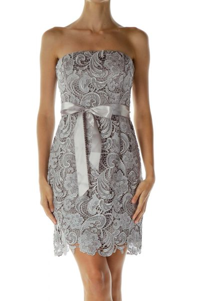 Gray Lace Strapless Cocktail Dress