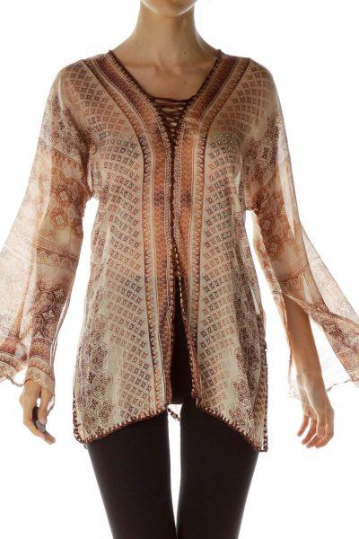 Brown Printed Bell Sleeve Blouse
