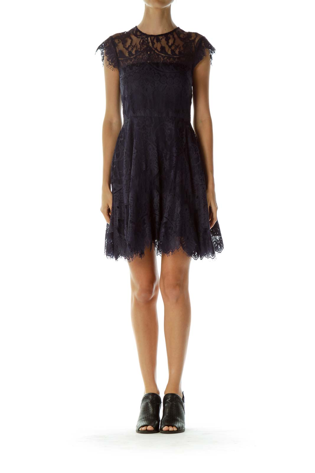 Navy Lace Open Neck Cocktail Dress