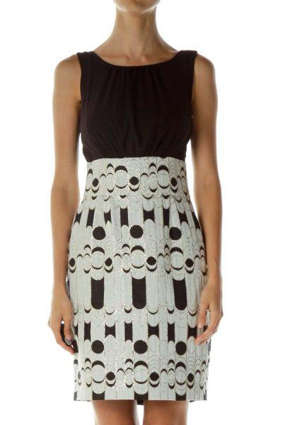 Black White Gold Geometric Dress