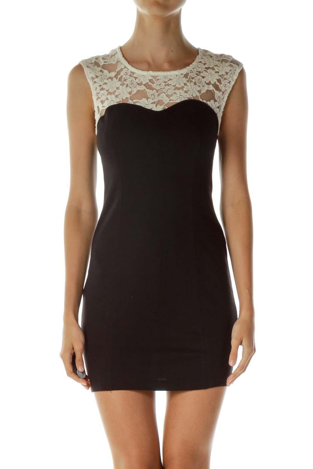 Black Beige Lace Bodycon Dress