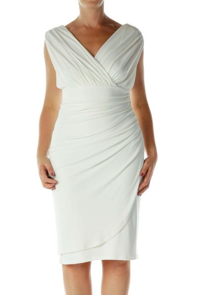 White Scrunched Stretchy Evening Dress