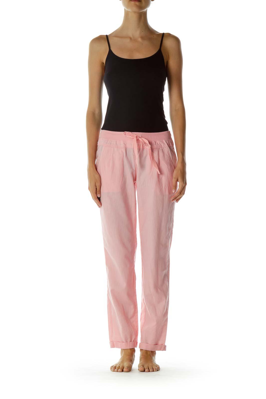 Pink Pocketed Drawstring Capri pants