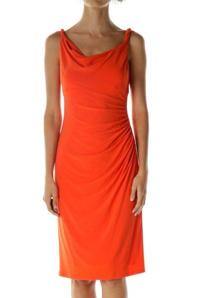 Orange Scrunched Sleeveless Cocktail Dress