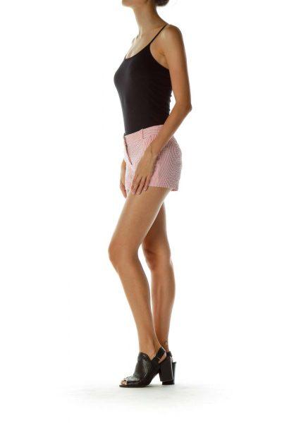 Pink White Striped Shorts