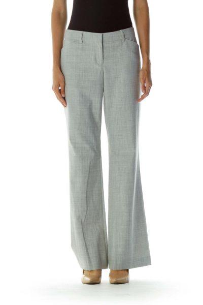 Gray Pocketed Zipper-fly Wide-Leg Pants
