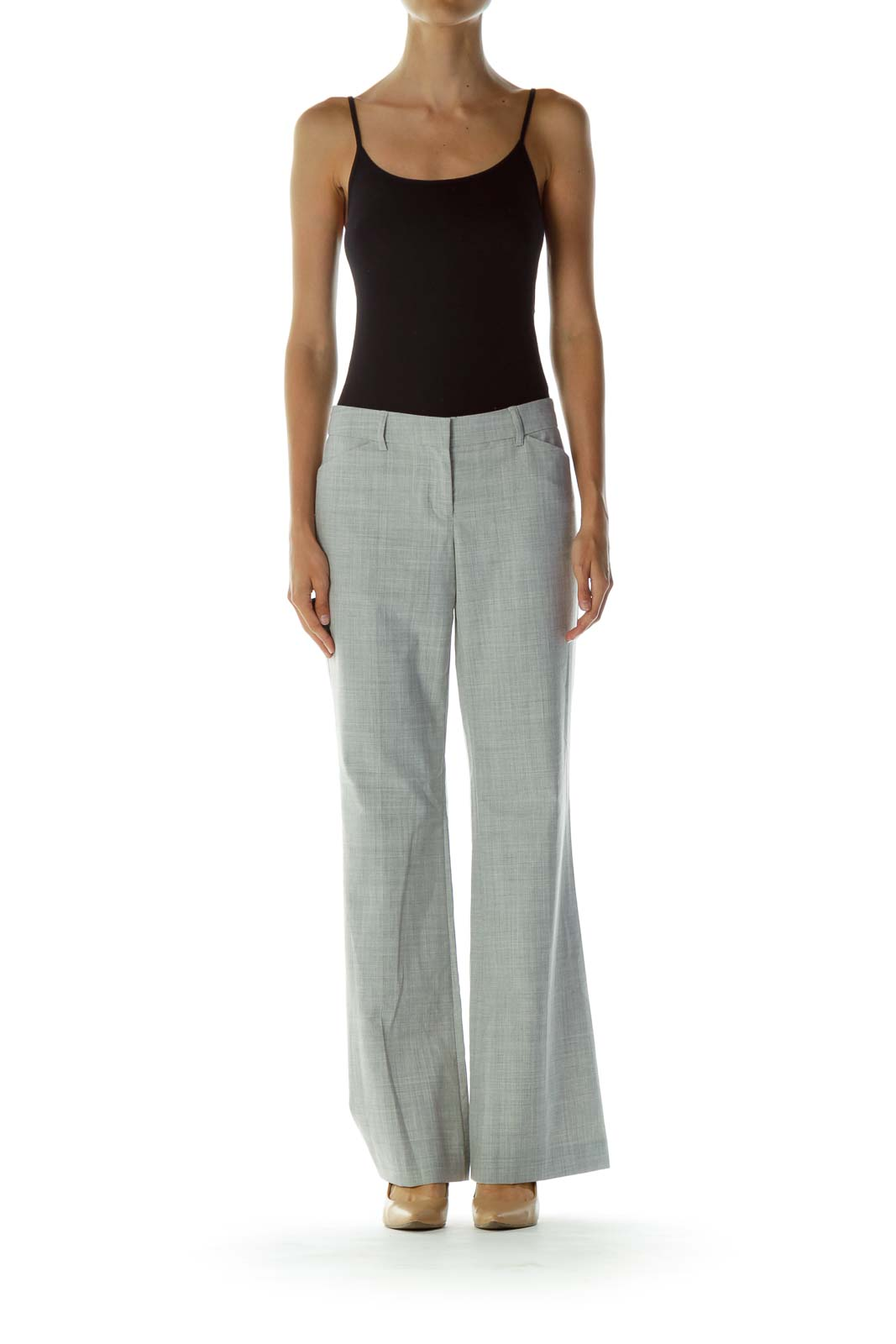 Gray Pocketed Zipper-fly Wide-Leg Pants