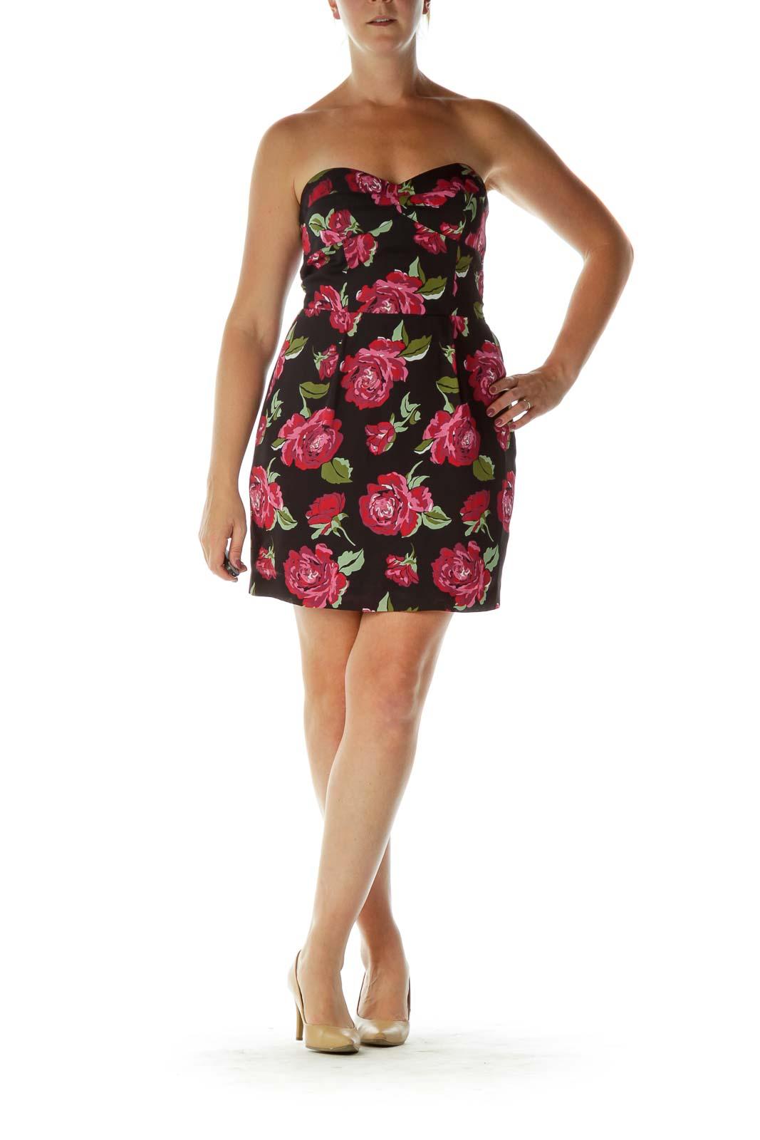 Black Pink Flower Bustier Dress