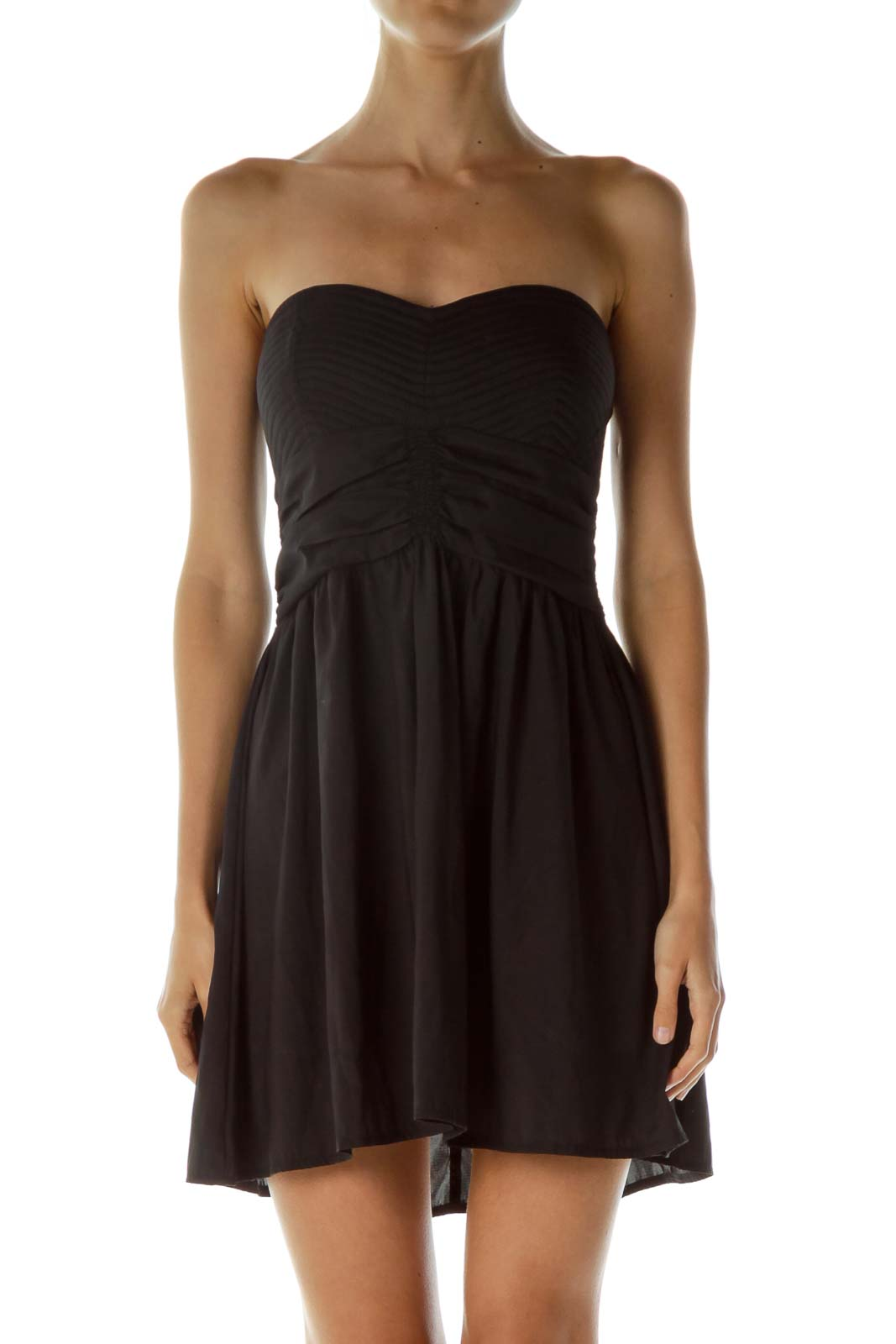 Black Bustier Scrunched Cocktail Dress