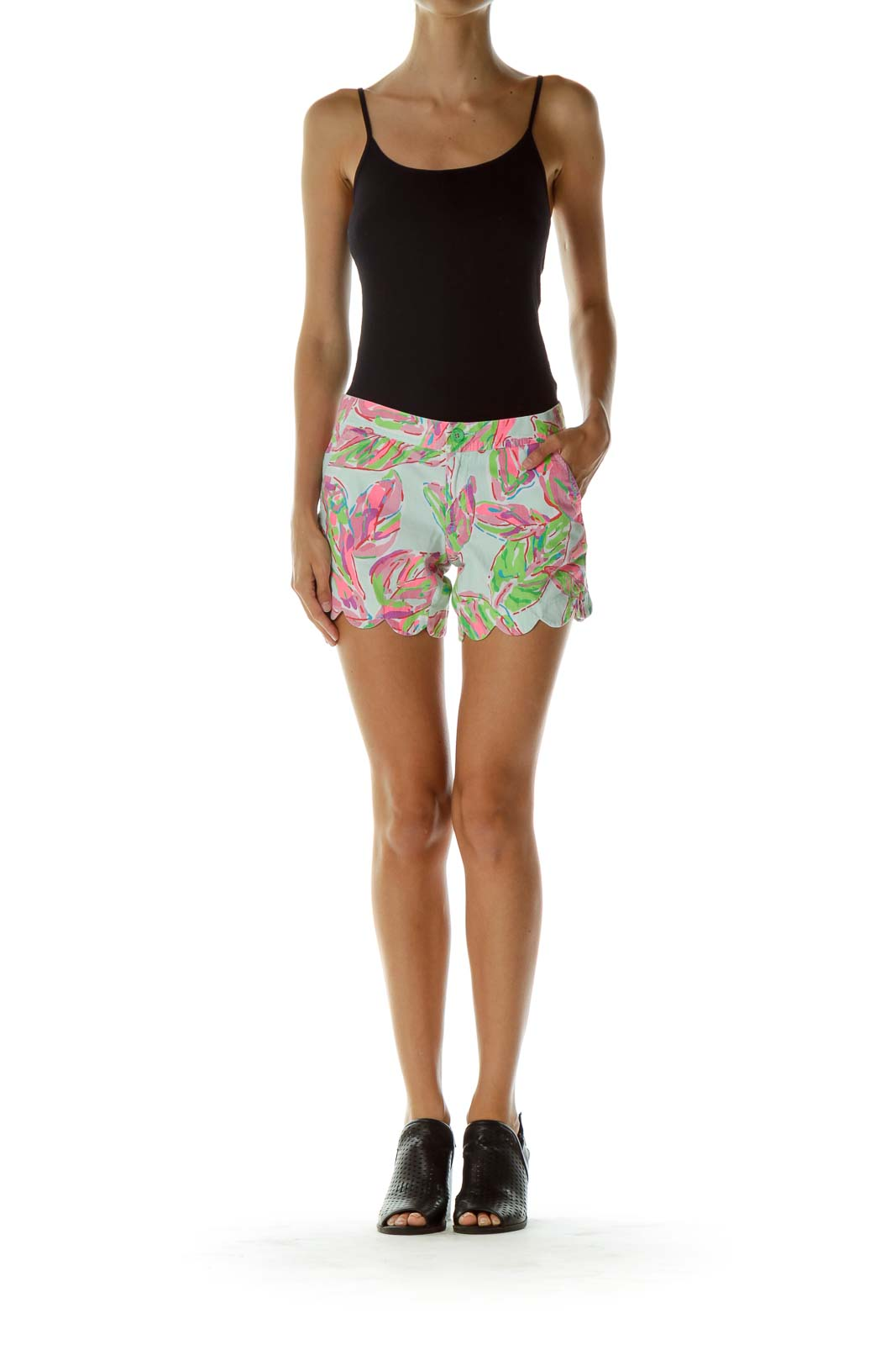 Multicolor Scalloped Shorts