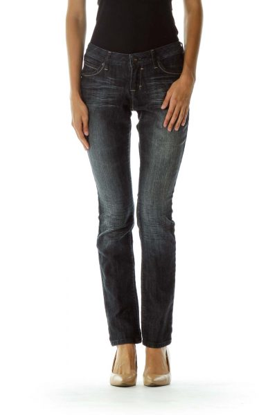 Black Gray Pocketed Skinny Jeans