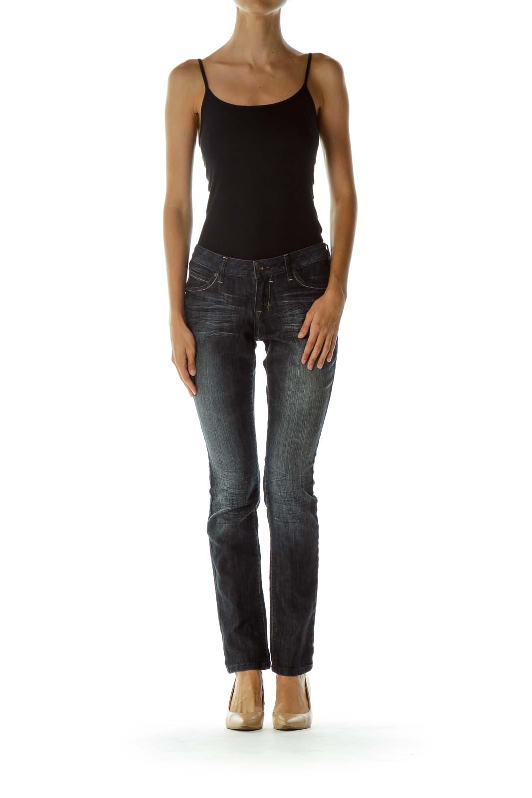 Black Gray Pocketed Skinny Jeans