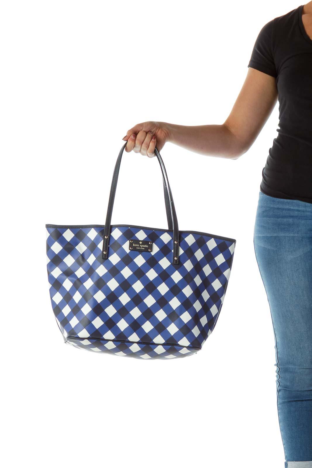 Blue White Checkered Tote Bag