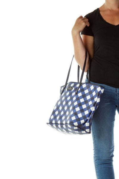 Blue White Checkered Tote Bag