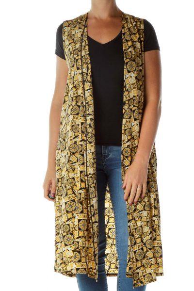 Gold Black Printed Vest