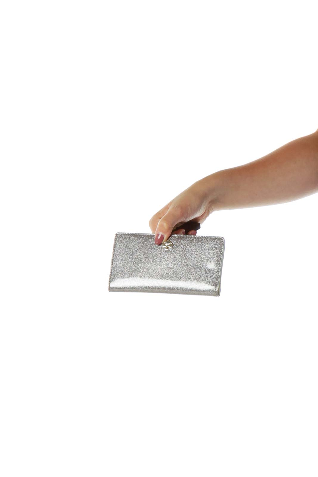 Silver Glitter Wallet with Leather Interior