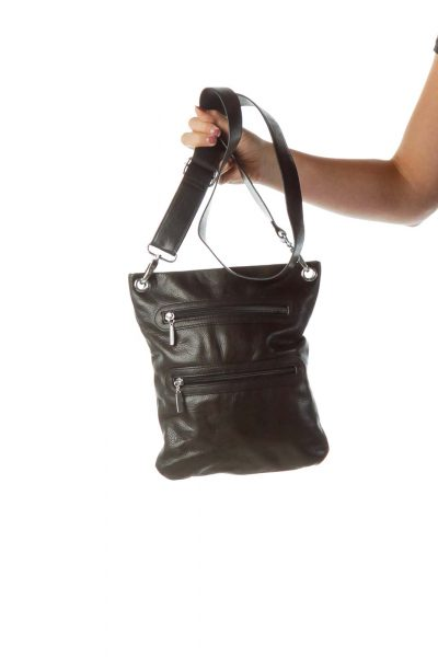 Black Leather Pocketed Cross Body Bag