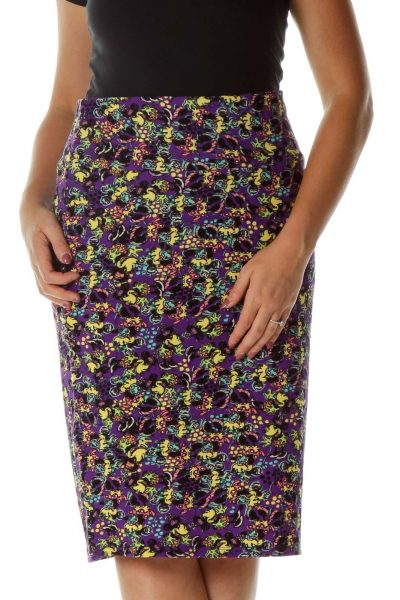 Purple Minnie Mouse Print Pencil Skirt